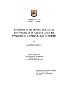 UBIRA ETheses - Evaluation of the thermal and mixing