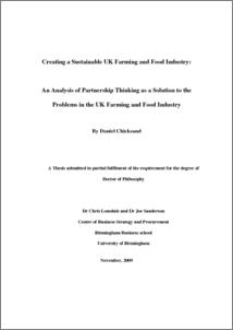 UBIRA ETheses - Creating a Sustainable UK Farming and Food