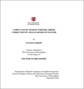 UBIRA ETheses - Corpus use by student writers: error correction by