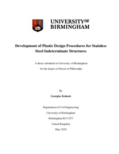 UBIRA ETheses - Development of plastic design procedures for
